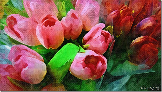 Oil painting tulips