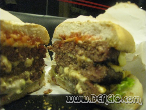 The Rediculous Burger... Burger with 3 Gian Patties totalling to 1 pound! that's about 4 quarter pounders!