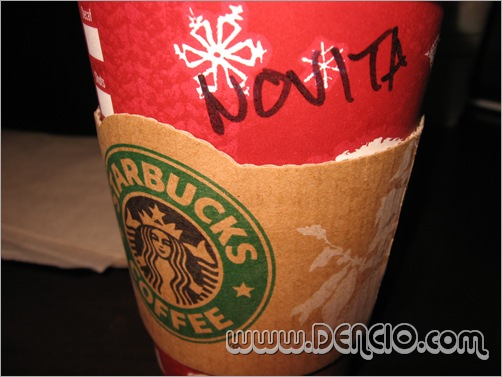 One Grande hot Chocolate for Novita! That's Me! that's Me!