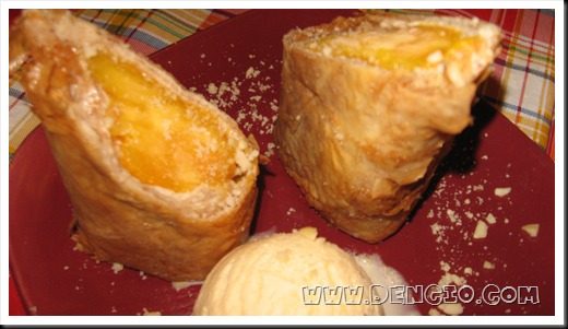 Mangos wrapped in Turon Wrapper, Froze, then Fried, served with a scoop of ice cream!