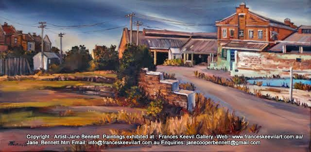 plein air oil painting of the Mc Caffery's stables, part of the CSR Distillery, Pyrmont,  before the construction of Jacksons Landing by industrial heritage artist Jane Bennett