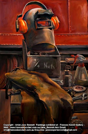 oil painting of heritage machinery and tools in the Eveleigh Railway Workshops by industrial heritage artist Jane Bennett