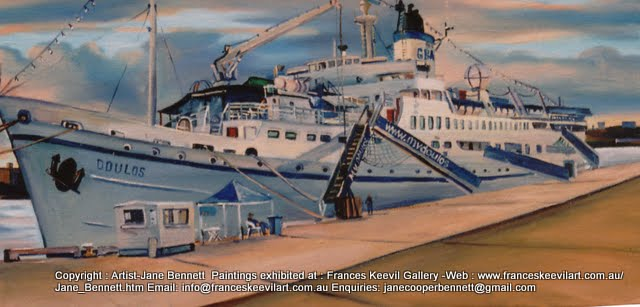 oil painting of the ship 'Doulos' at the Hungry Mile, now Barangaroo by artist Jane Bennett