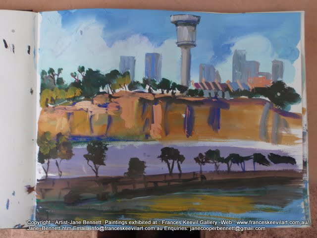 watercolour painting of the Sydney Harbour Control Tower, Barangaroo by artist Jane Bennett