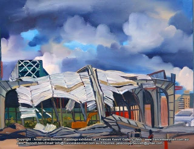 plein air oil painting of demolition of  cruise ship terminal Wharf 8 Barangaroo by industrial heritage artist Jane Bennett