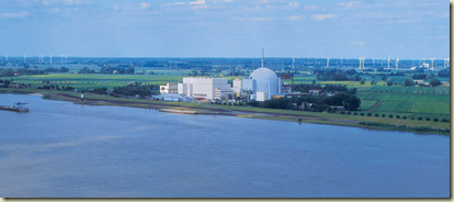 Renewables and nuclear working together near the Elbe: the Brokdorf nuclear plant in Germany.