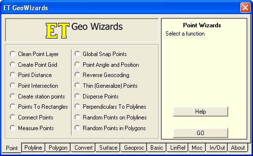 ET GeoWizards – A suite of tools extending ArcMap functionality