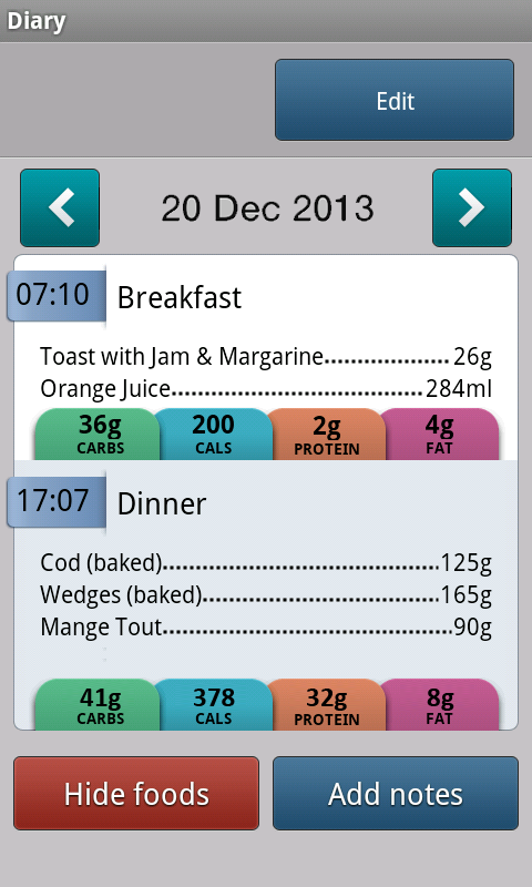 Carbs & Cals - Diabetes & Diet- screenshot