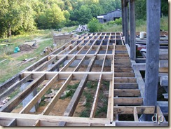 floor framing on front of house