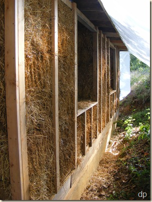 Straw bale wall from the outside