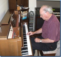 George Watt enjoying the lovely sounding Schimmel acoustic piano
