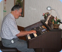 Roy Steen playing the Club's Technics GA3 organ