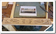 Box trestle table carvings
