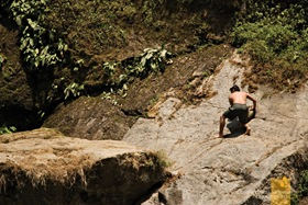 The Rock Face to the Platform of Sagada's Bomod-Ok Falls