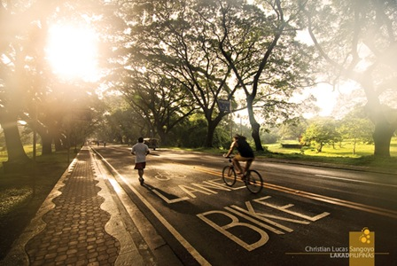 Morning Joggers at the Dedicated Bike Lanes in UP Diliman