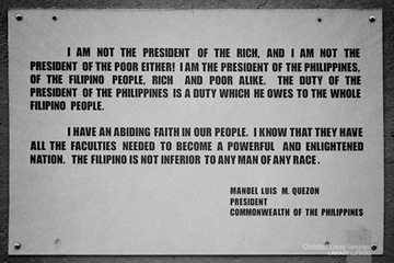 The Inscription Under President Manuel L. Quezon in Corregidor
