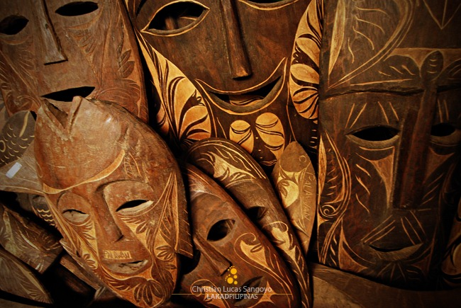 Huge Tribal Mask Carvings Greets Visitors as They Enter Coron's Souvenir Shop