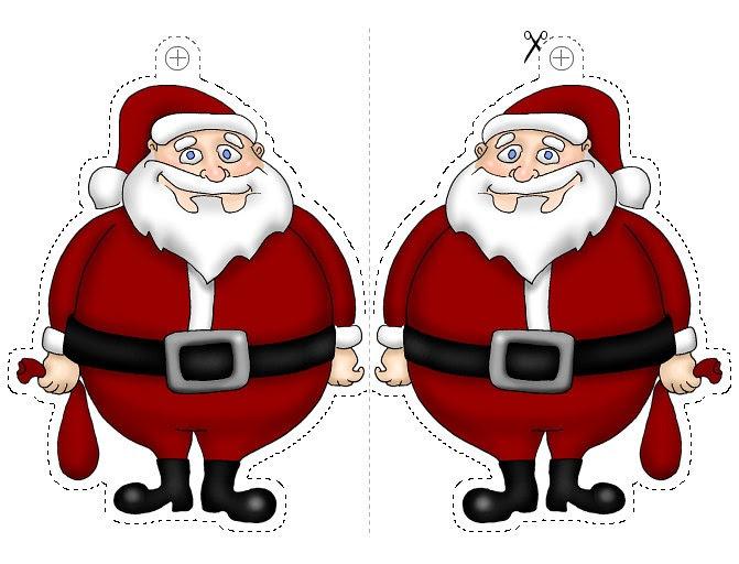 Papa noel para recortar y colgar colorear dibujos infantiles for Adornos navidenos para colorear y recortar