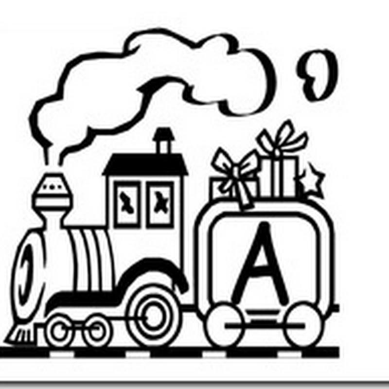 Abecedario español para colorear con trenes