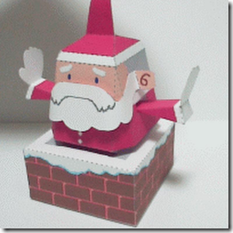 Manualidad recortable papá Noel bajando por la chimenea
