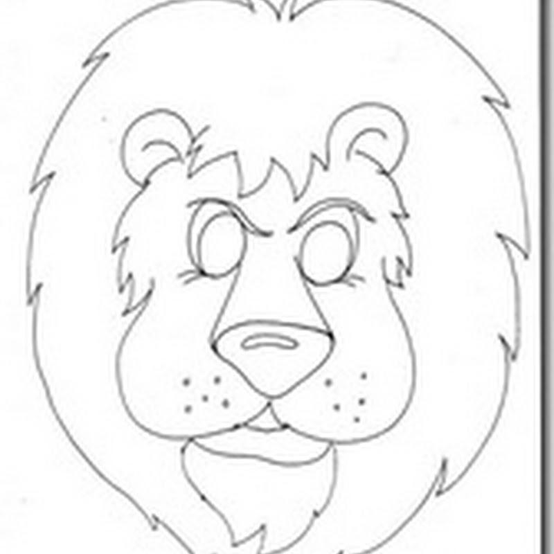 Máscaras león para imprimir y colorear