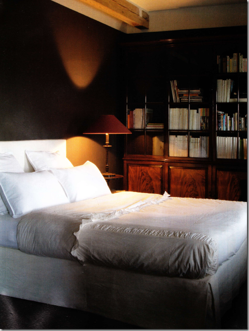 Another bedroom  a rare dark room  with white linen that pops against the  walls. COTE DE TEXAS  Belgian Design   Hot  Hot  Hot