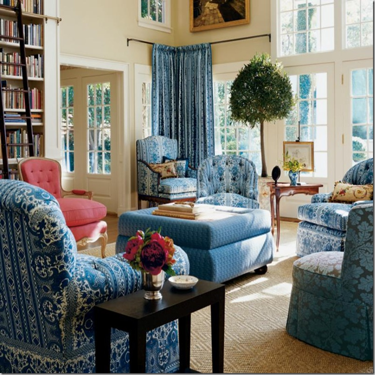 In Her East Hampton House The New Brunschwig And Fils Fabrics Were Used For An Ad Digby Tent Blue Colorway Covered Most Of Pieces