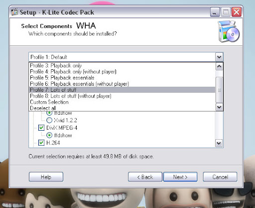 K-Lite Mega/Full/standard/Basic/corporate/64bit The ultimate collection of Popular and rare codec/filter and a lot more -  select lots of stuffs option