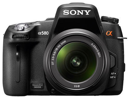 Sony's New High Performance HD DSLR A560, A580 with 3D sweep Panorama Unveiled image camera logo illustration