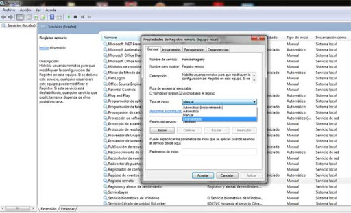 Desactivar servicios Windows 7