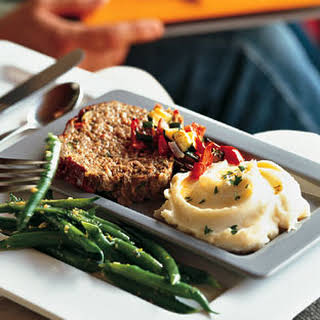 Roasted Vegetable Meatloaf with Mustard Mashed Potatoes.