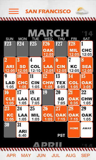 Baseball Pocket Sked - Giants