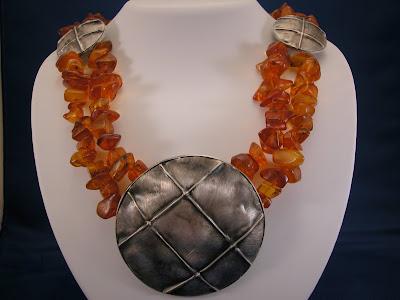 Amber and Fold Formed Sliver Medallion Necklace - Custom