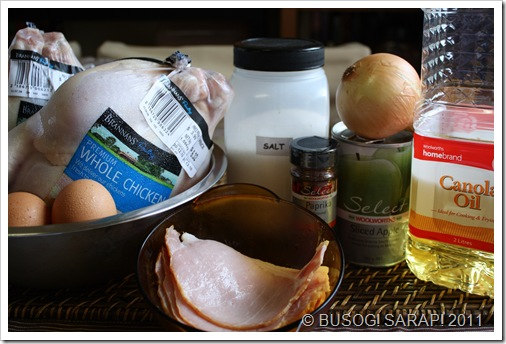 ROASTED CHICKEN WITH BACON, APPLE & ONION INGREDIENTS© BUSOG! SARAP! 2011