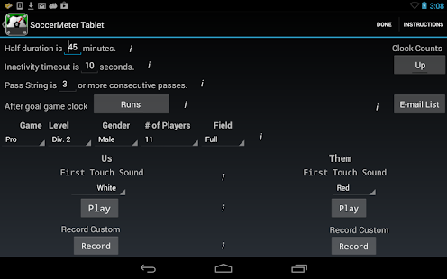 SoccerMeter Tablet- screenshot thumbnail
