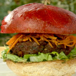 Sweet and spicy red fez burger with Marrakesh carrot salad and chermoula mayonnaise