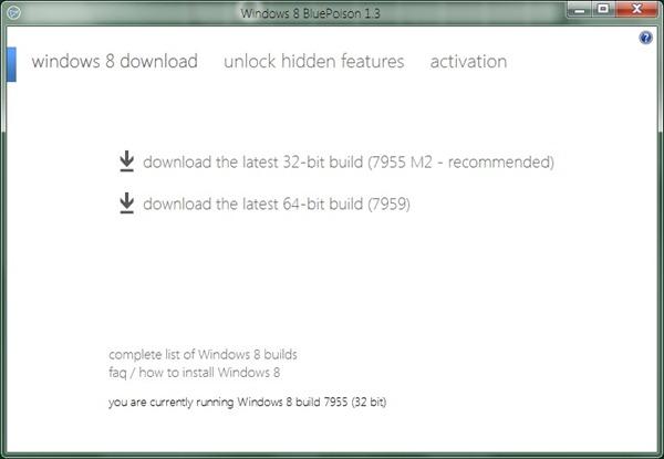 Bluepoison disables windows 8 immersive start menu, unlocks hidden.