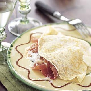 Golden Pancakes with Pecorino and Prosciutto.