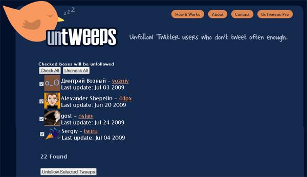 Untweeps для твиттера