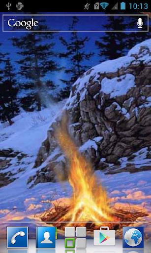 Bonfire in winter forest LWP