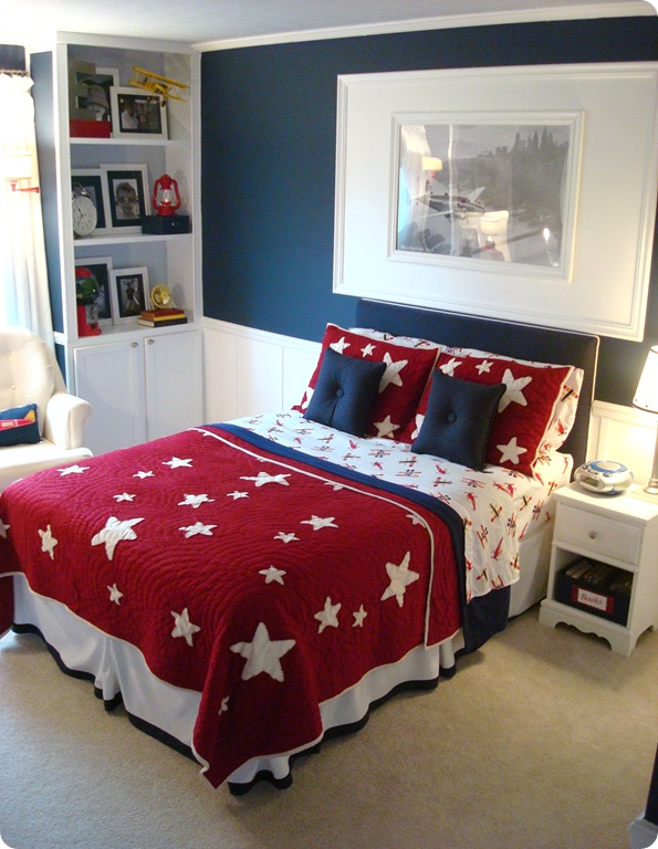 Big boy airplane room reveal in red white and blue
