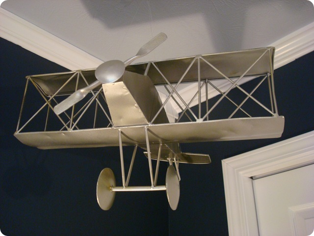 Hanging airplane in boy room