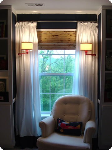 Window with bookcases and lights