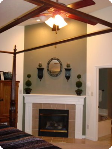 fireplace peach tile