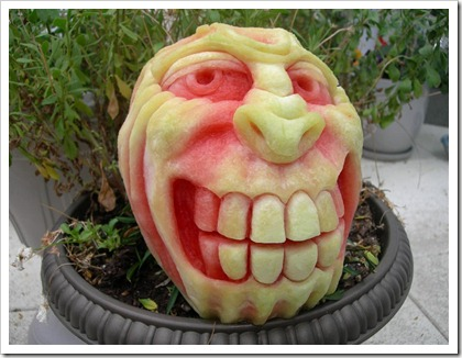 Pumpkin carved to grin