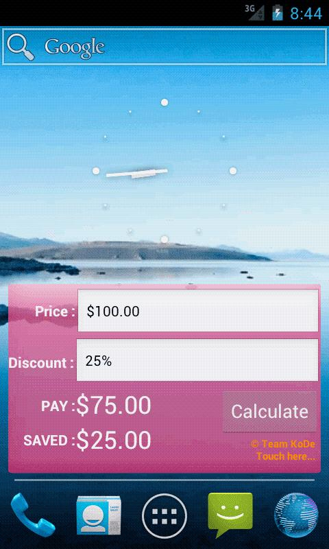 Discount Calculator Widget - screenshot