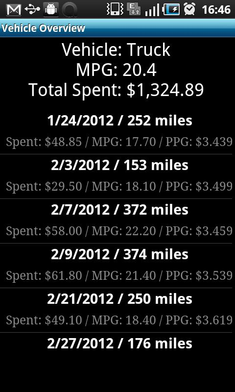 Gas Mileage Tracker - screenshot