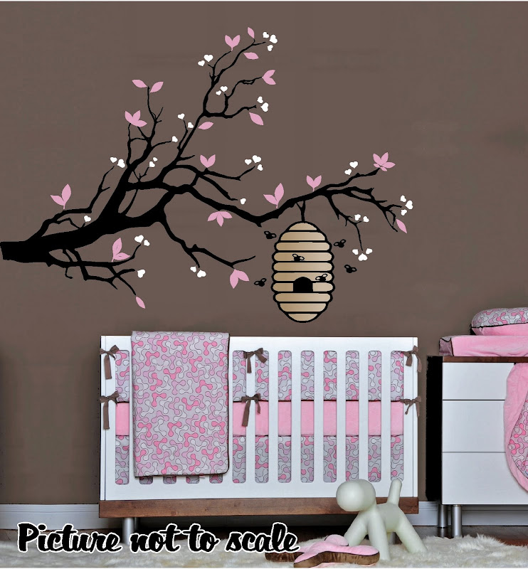 Details About Bee Hive On A Tree Branch Nursery Wall Art Children S Or Kid Room Decor