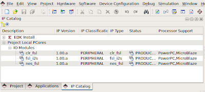 XPS IP Catalog tab showing the custom peripherals.