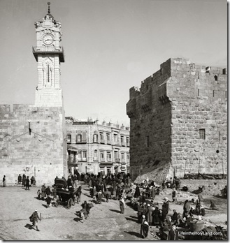Jaffa Gate, breach in city wall, mat04933